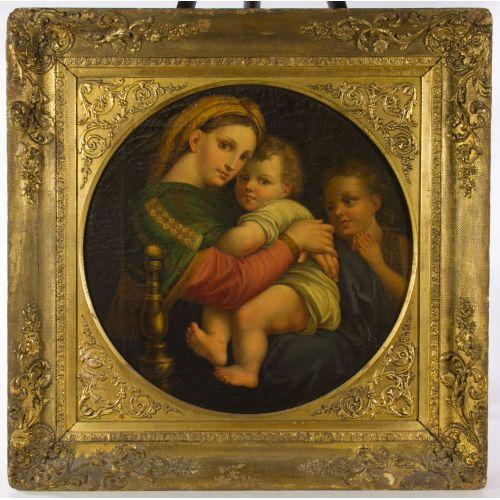 "(After) Raphael (Italian, 1483-1520) ""The Madonna della Sedia"" Oil on Canvas"