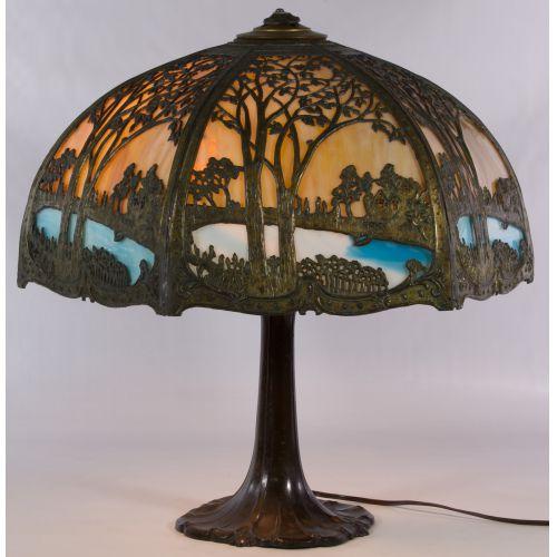 Art Nouveau Slag Glass Lamp