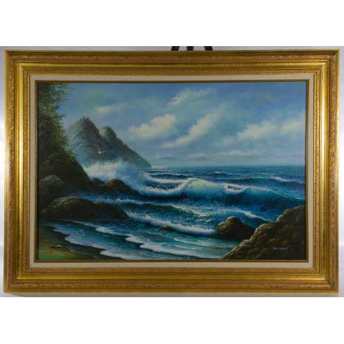"June Nelson (20th Century) ""Seascape"" Oil on Canvas"