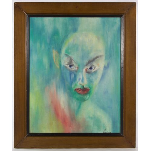 "Hervi (20th Century) ""Devil"" Oil on Board"