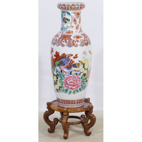 Asian Floor Vase with Wooden Stand