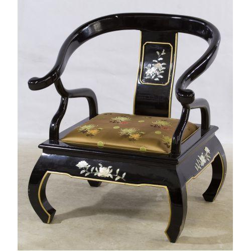 Black Lacquer Asian Arm Chair