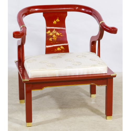 Red Lacquer Asian Arm Chair