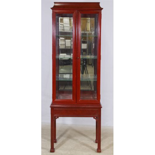 Painted Asian Style Display Cabinet on Stand by Century