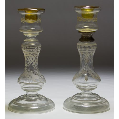 Hand-blown and Etched Glass Candleholders