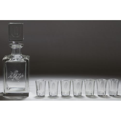 Cummings Crystal Decanter and Shot Glasses