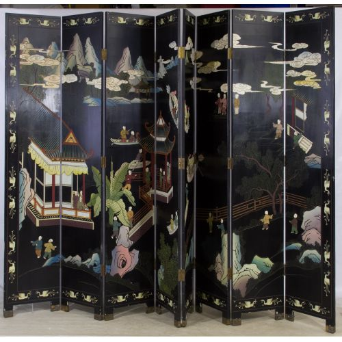 Asian Wood Painted Screen