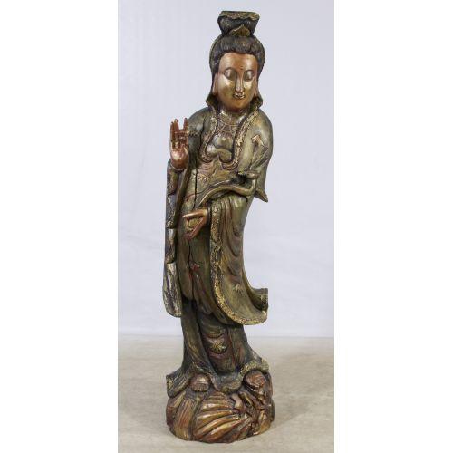 Kwan Yin Wood Painted Statue
