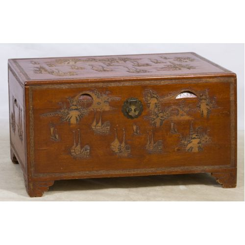 Carved Walnut Asian Chest