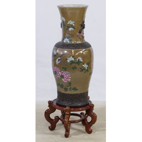 Asian Floor Vase with Wood Stand