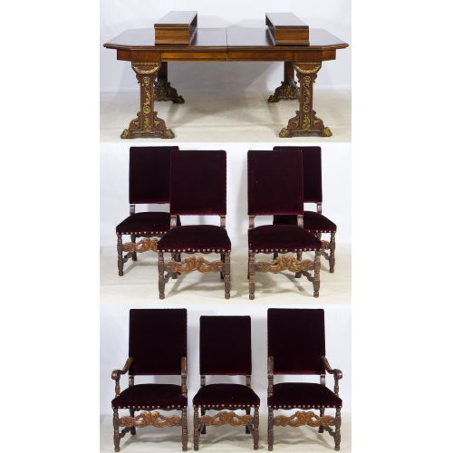 Jacobean Style Mahogany Table and Chairs