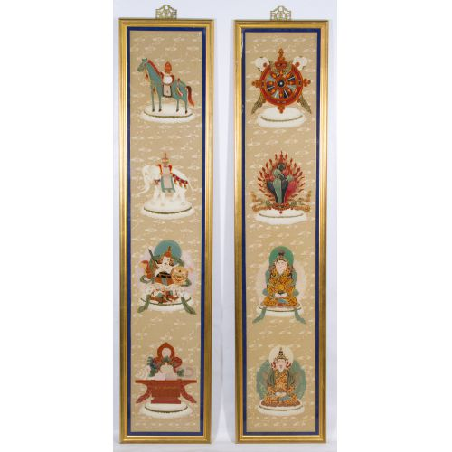 Asian Framed Cloth Wall Hangings