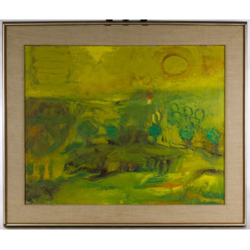 "Eleanor Coen (American, 1916-2010) ""Yellow Sun Landscape"" Oil on Canvas"