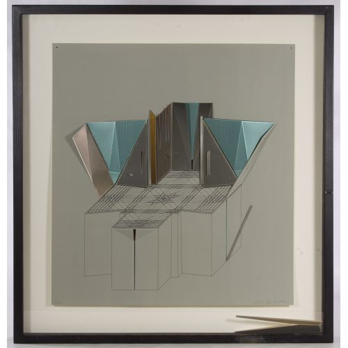"Aki Knezevic (20th Century) ""Mausoleum Chapel"" Isometric Architectural Work"