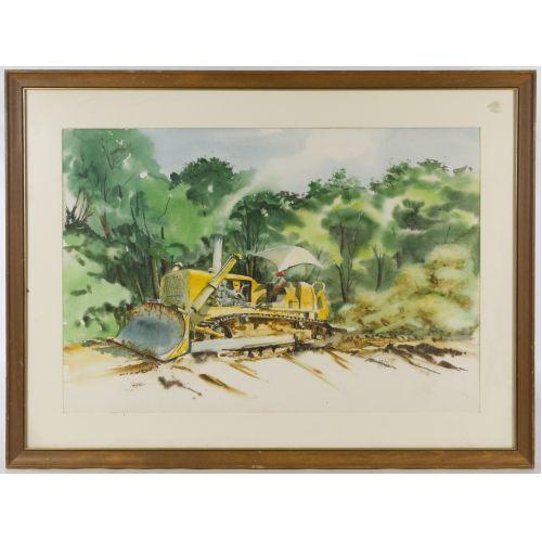 "Rene Potter (American, 20th Century) ""Tractor in Field"" Watercolor"