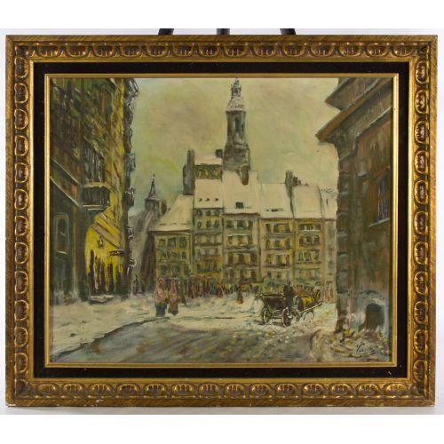 "Vasari (20th Century) ""Old Warsaw"" Oil on Board"