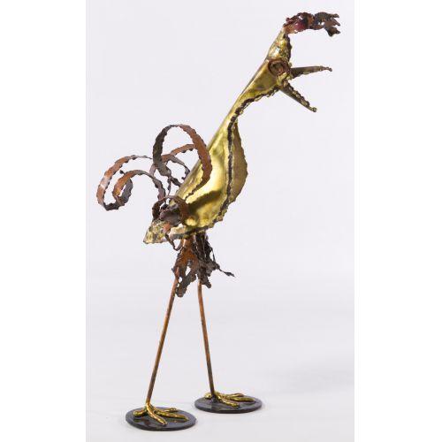 Mid-Century Modern Abstract Mixed Metal Bird