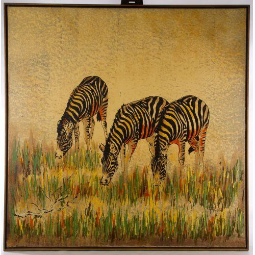 "Fadik (20th Century) ""Zebras"" Screen Print"