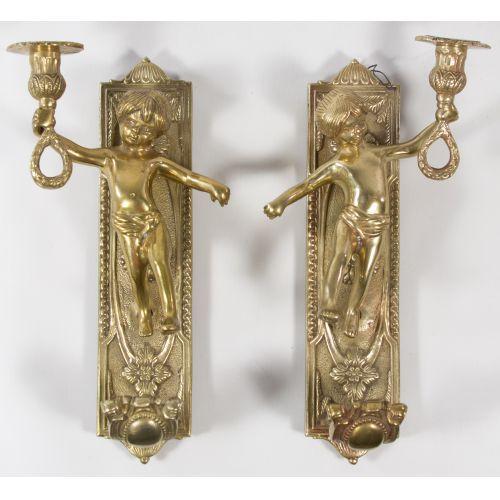 Cast Brass Cherub Candleholders