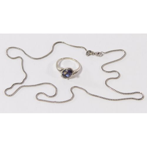 14k White Gold and Sapphire Ring and Box Link Necklace