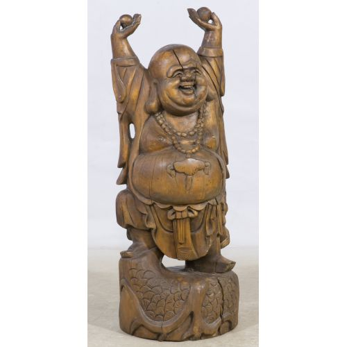 Carved Wood Happy Buddha Statue