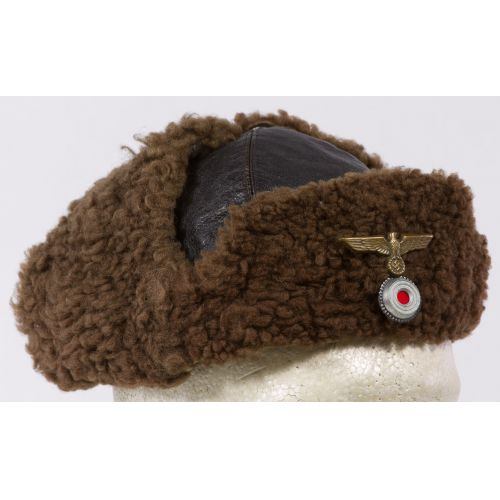 Shearling Aviator Style Hat with German Nazi Pin