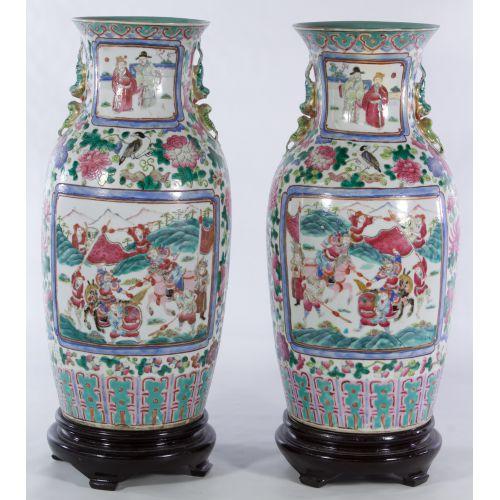 Famille Rose Asian Ceramic Vases
