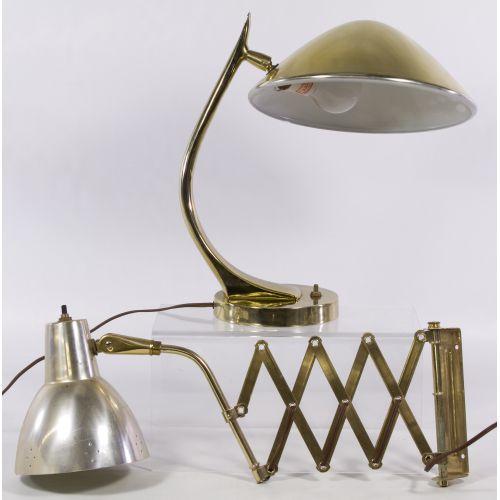 Mid-Century Modern Brass Desk Lamp