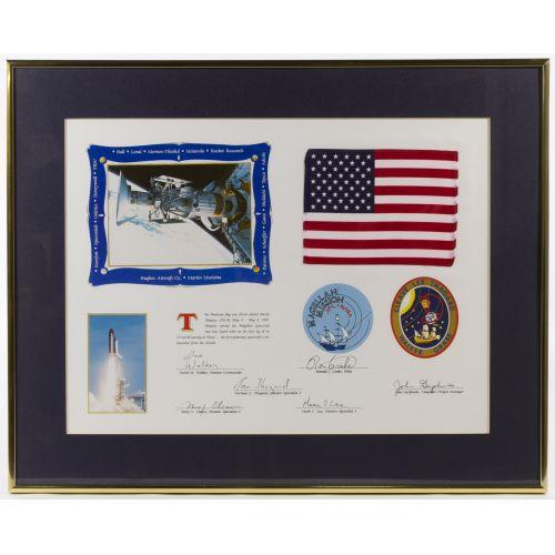 NASA Atlantis American Flag and Lithograph