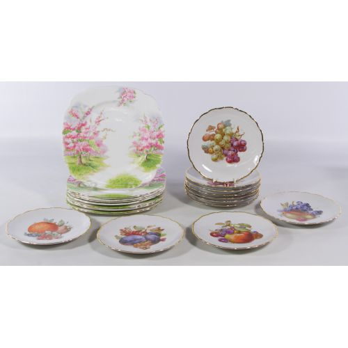 "Royal Albert ""Blossom Time"" and Schumann ""Fruit"" Plates"