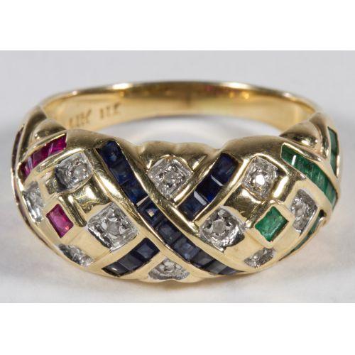 14k Gold, Semi-precious and Diamond Ring