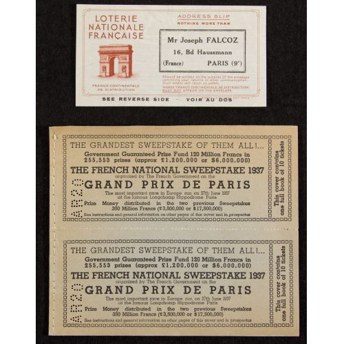 The French National Sweepstakes 1937 Full Ticket Book