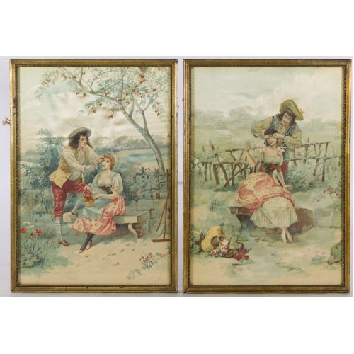 Printed and Embroidered Silk Courting Scenes