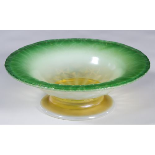 Louis Comfort Tiffany Green Pastel Favrile Footed Bowl