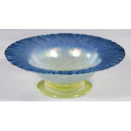 Louis Comfort Tiffany Blue Pastel Footed Bowl