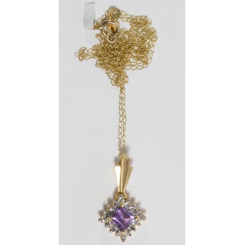 14k Gold and Amethyst Pendant and Necklace