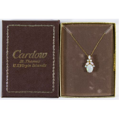 14k Gold and Opal Pendant and Necklace