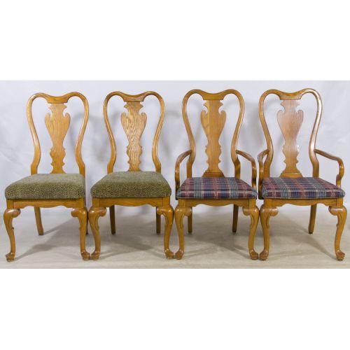Oak Queen Ann Style Chairs