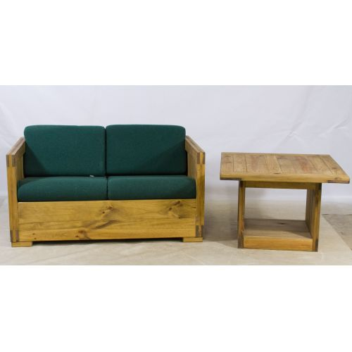 Natural Pine Loveseat and Table