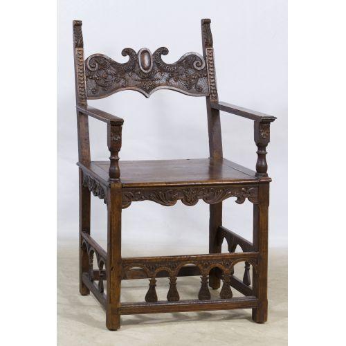 French Henri II Style Walnut Arm Chair