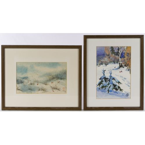"""Victor Ing (Chinese/American, 20th Century) """"Winter"""" Watercolor"""