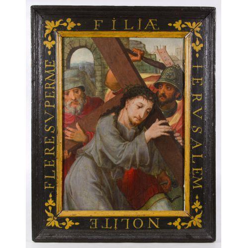 "European School (17th Century) ""Christ Carrying the Cross"" Oil on Board"
