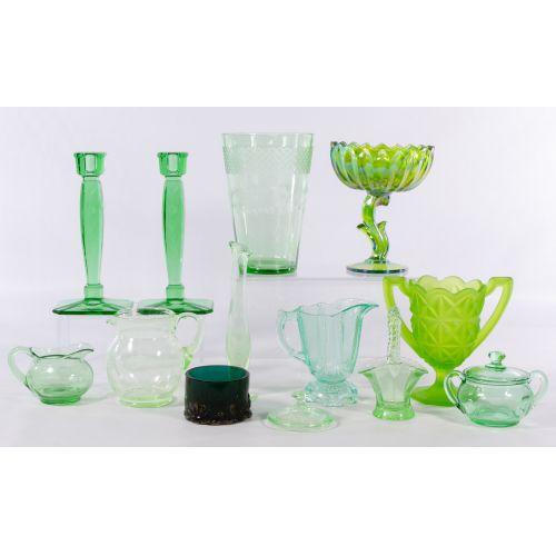 Green Depression Glass Assortment