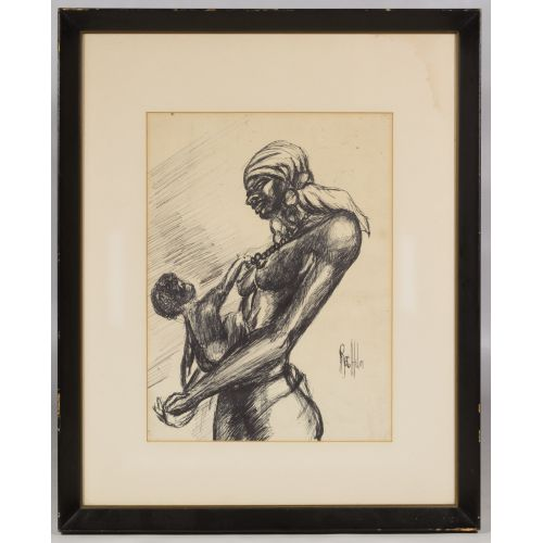 """Reginald Helm (African American, 20th Century) """"Mother and Child"""" Pen and Ink on Paper"""