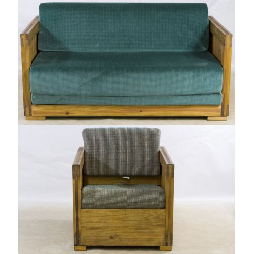 Natural Pine Loveseat / Futon and Chair