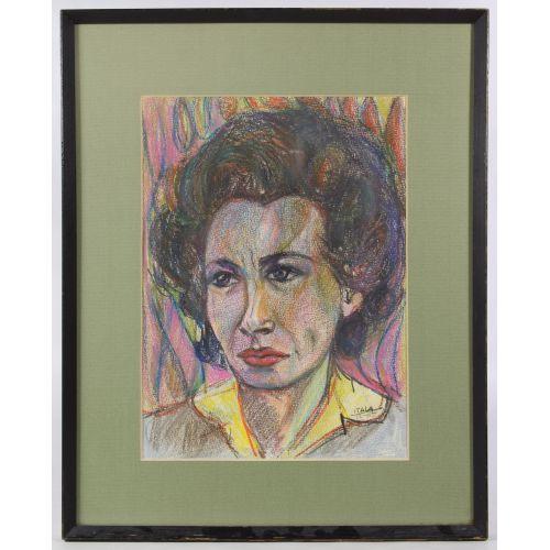 "Itala Langmar (20th Century) ""Female Portrait"" Drawing"