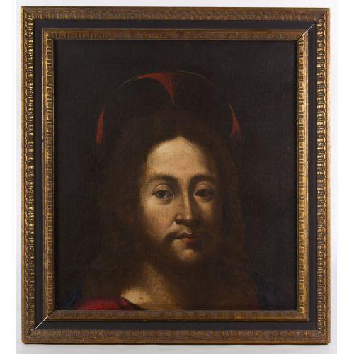 "European School (17th Century) ""Head of Christ"" Oil on Canvas"