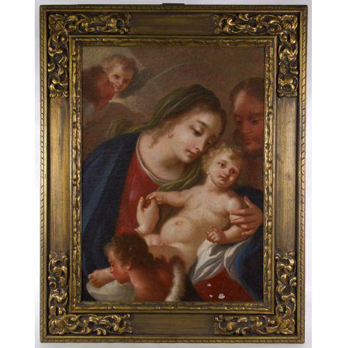 "European School ""Madonna and Child"" Oil on Canvas"