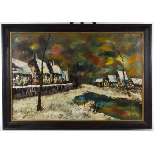 """Jacallo (20th Century) """"Architectural Landscape"""" Oil on Canvas"""