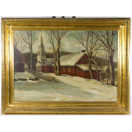 "Garrison (20th Century) ""Snow Covered Church"" Oil on Canvas"